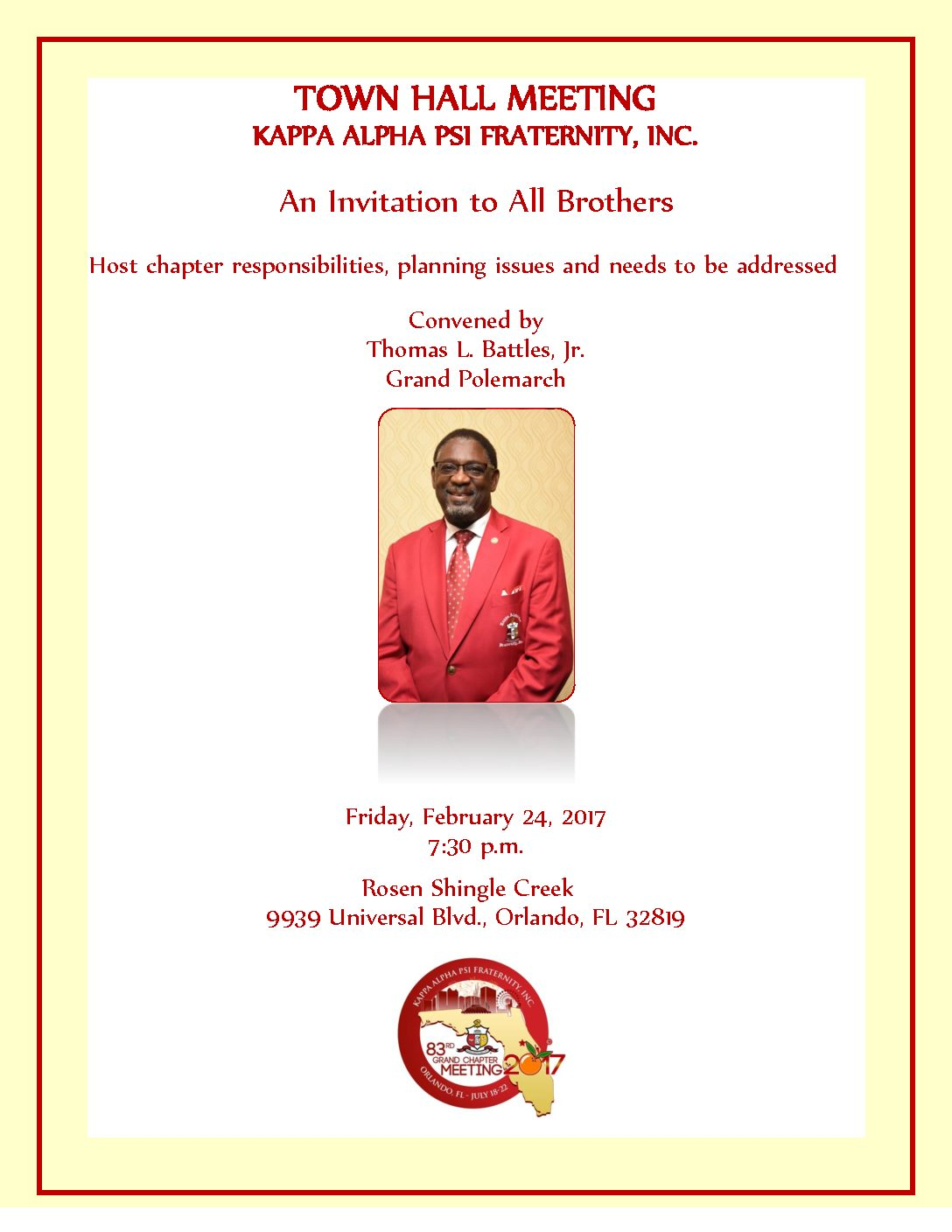 GRAND POLEMARCH BATTLES HOST ORLANDO TOWN HALL MEETING
